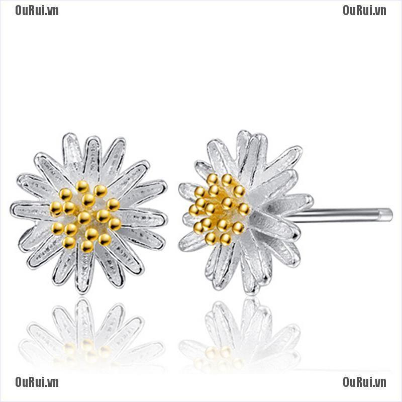 Bông tai hình hoa cúc mạ bạc 925 thời trang dành cho nữ