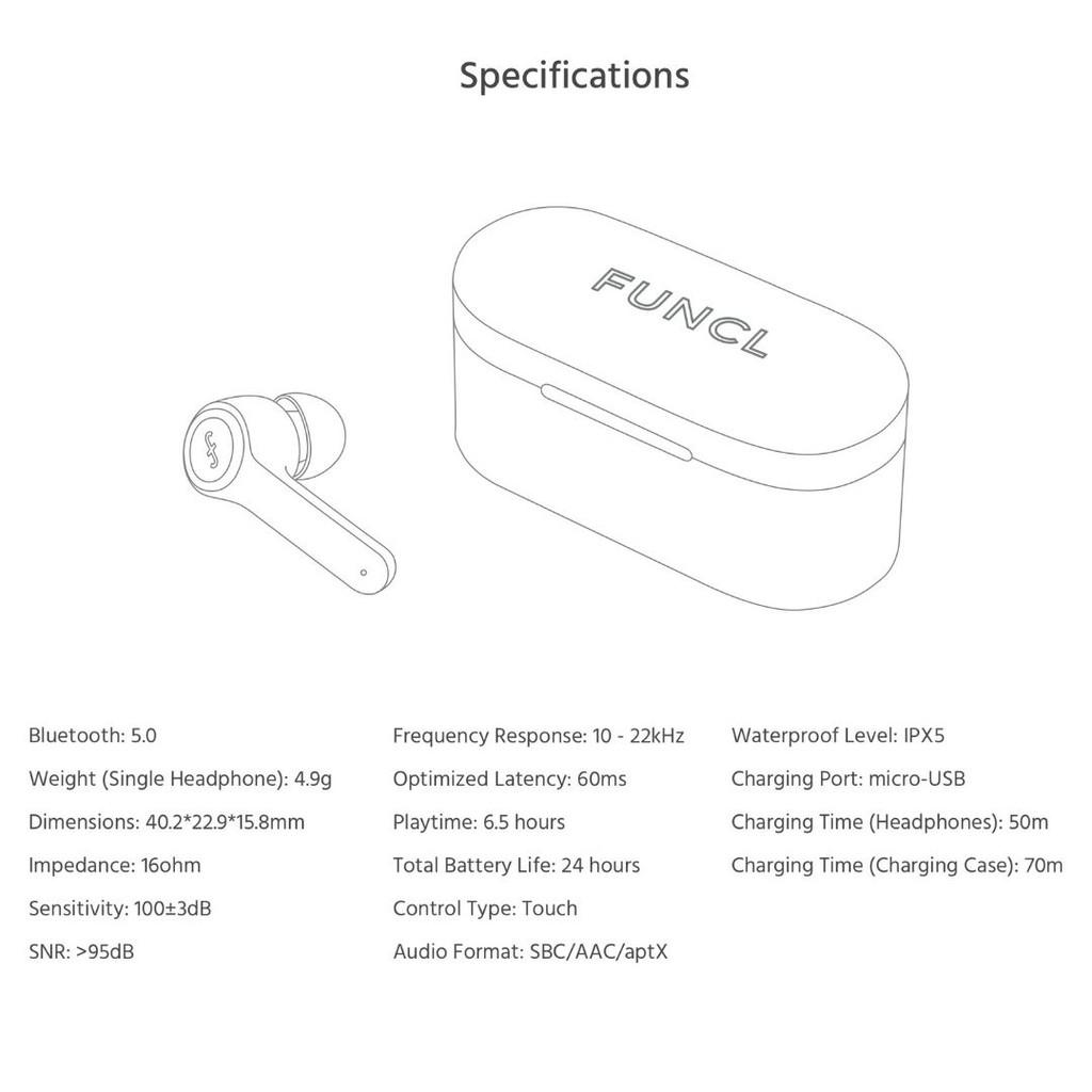[Mã 267ELSALE hoàn 7% đơn 300K] Funcl AI   Tai nghe True Wireless