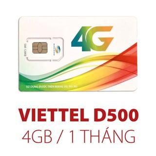 Sim Viettel D500 4Gb/Tháng Trọn Gói 1 Năm Không Nạp Tiền
