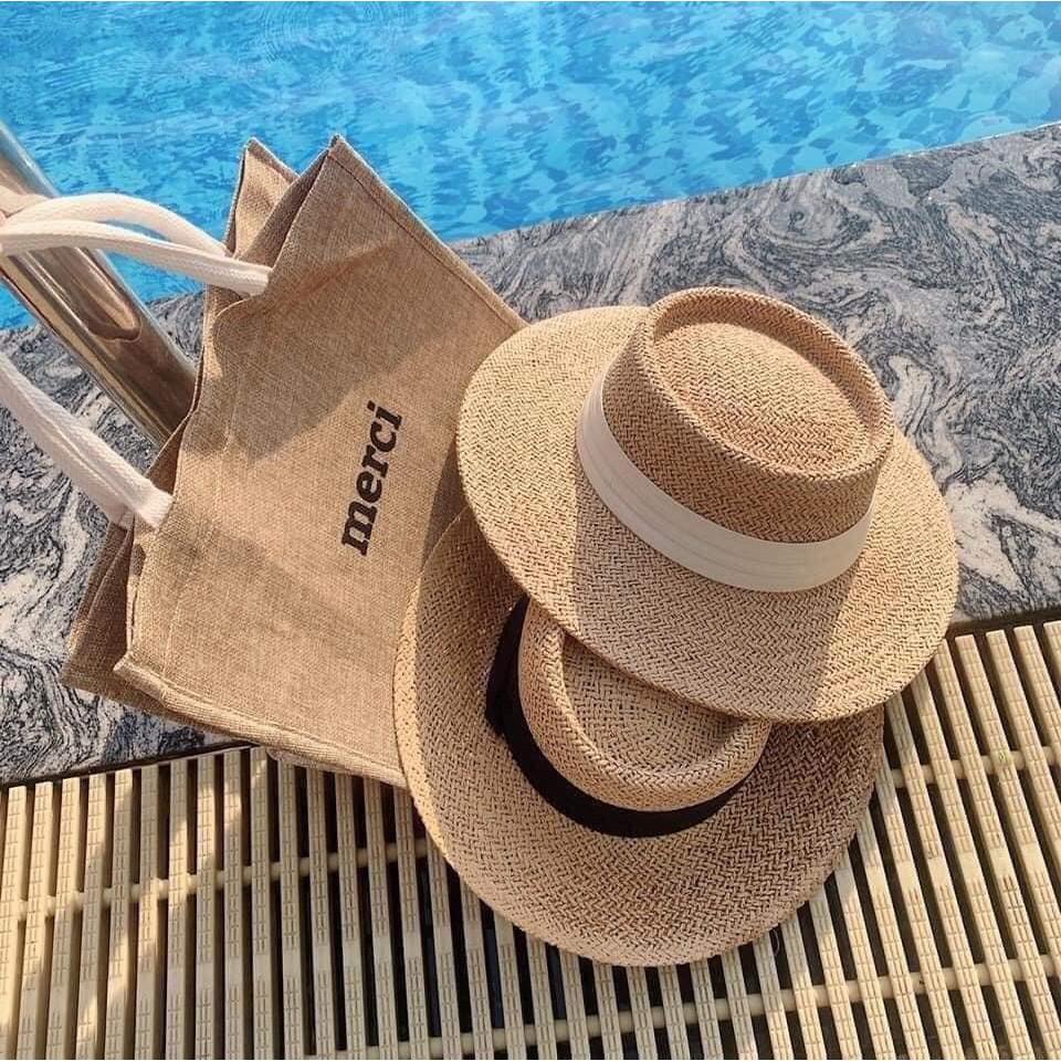 Set 3 món túi mũ cói và kính cho nữ
