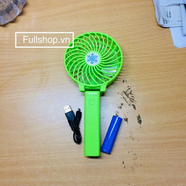 Quạt cầm tay mini du lịch, quạt mini pin sạc đa năng có đèn LED [tằng kèm cáp sạc pin]