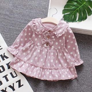 Đầm xòe tay dài họa tiết chấm bi đáng yêu dành cho bé