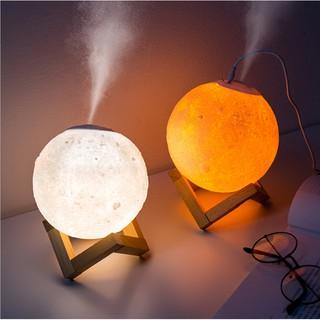 [Tặng kèm tinh dầu] Đèn Ngủ Mặt Trăng phun sương size 15 cm cảm biến đổi màu tặng kèm đế gỗ