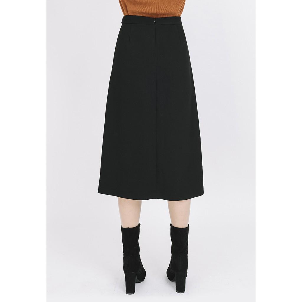 Chân váy dáng dài lệch gấu VIENNE TRAN V62T18T009 (Đen)