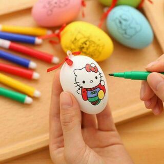 Trứng tô màu kèm 4 bút màu