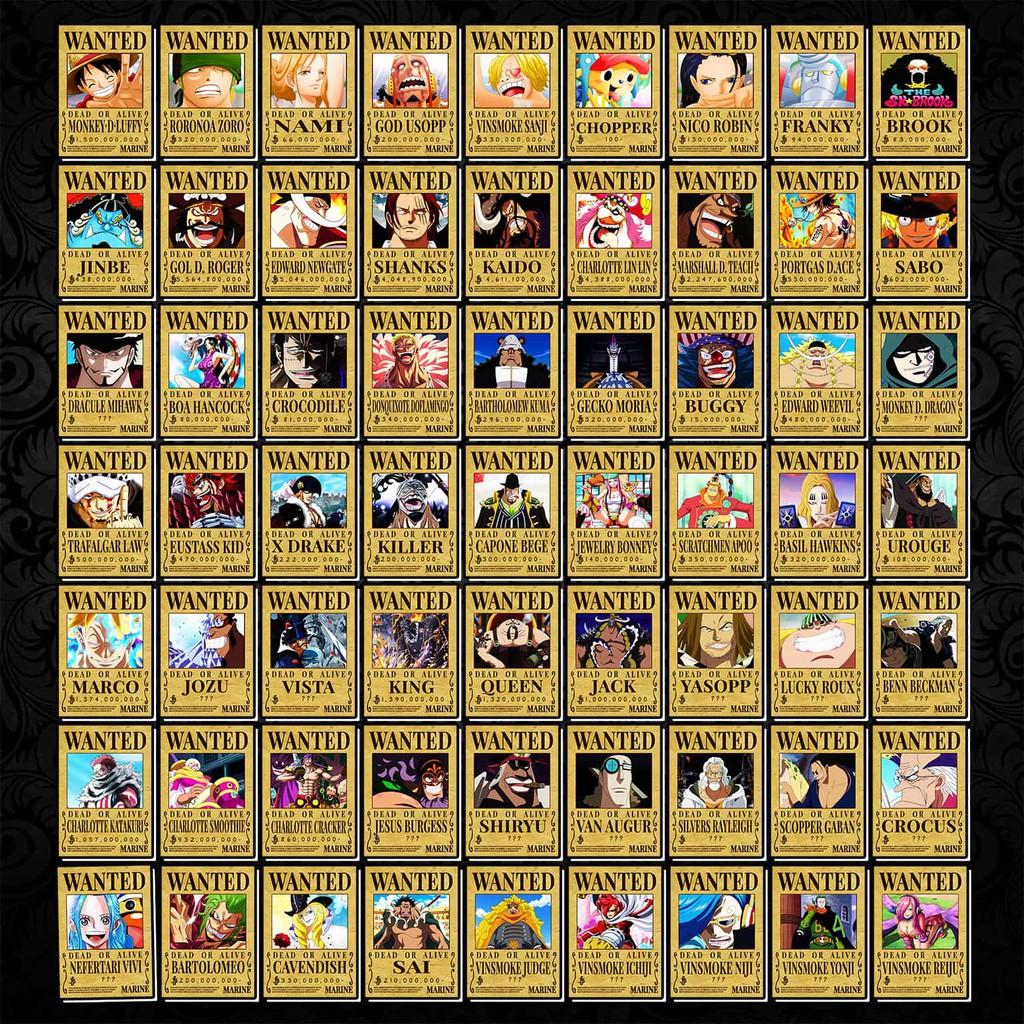 [Độc Quyền Phản Quang 7 Màu] Thẻ Bài - Wanted nhân vật One Piece - Khổ 6.3 cm x 9 cm