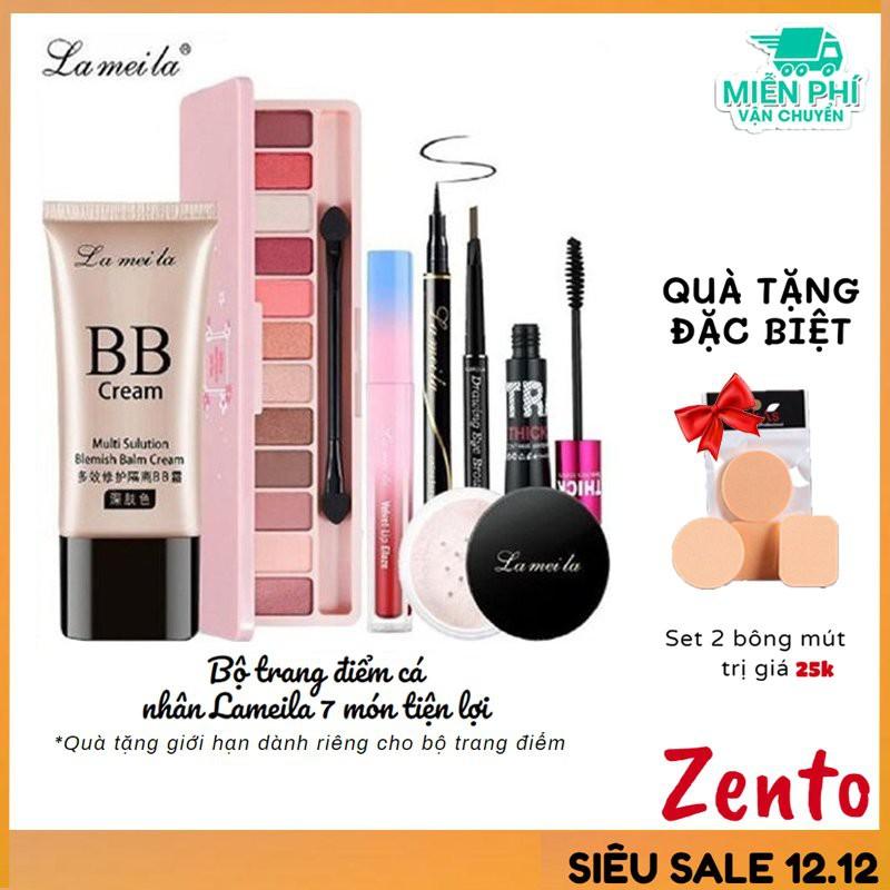 Bộ trang điểm đầy đủ LAMEILA 7 món makeup đầm nữ xinh Kem BB, Phấn phủ, Phấn mắt, Mascara, Kẻ mày, Kẻ mắt nước, Son kem