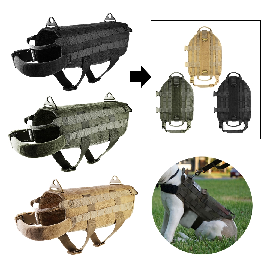 K9 Service Training Pet Dog Pulling Harness Tactical Control Nylon Molle Vest M