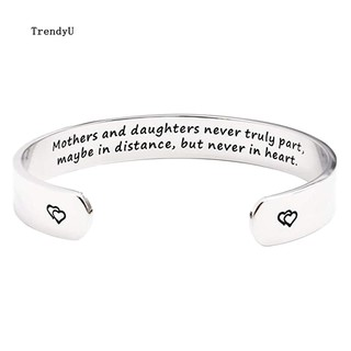 🌺TDU🌺Mothers and Daughters Carved Letter Open Bangle Cuff Bracelet