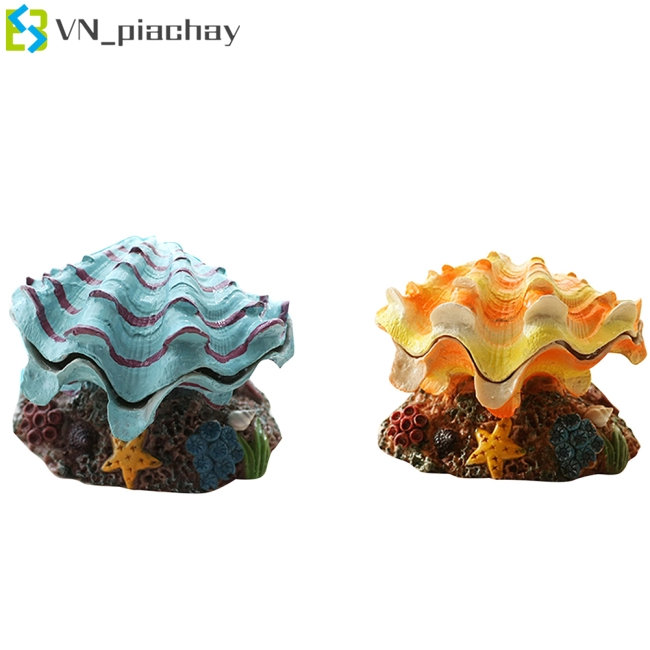 Simulate Air Bubble Scallop Shell Ornaments Aeration Pump Connectable for Aquarium Fish Bowl Decoration