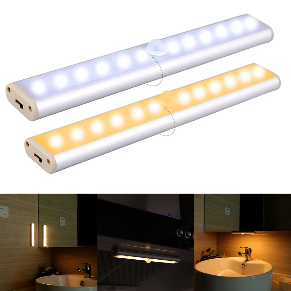 Bathroom Bedroom Cupboard Infrared Motion Sensor USB Rechargeable Stick-on Wardrobe Led Light