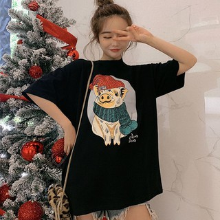 Spring and summer cute pig print short-sleeved cotton T-shir