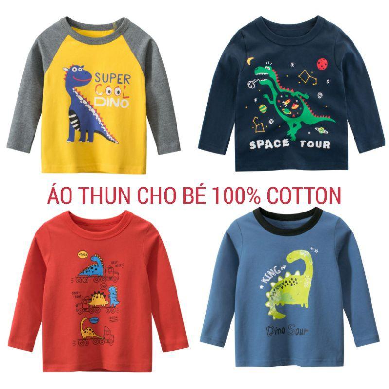 Áo khủng long cho bé trai 27KIDS áo thun dài tay chất cotton hàng xuất Âu Mỹ