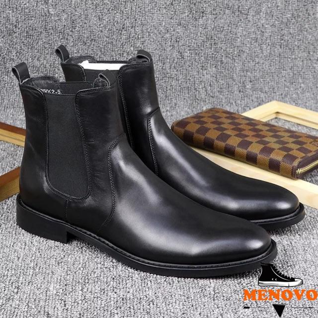Giày da nam cổ lửng tăng chiều cao cao cấp BT28