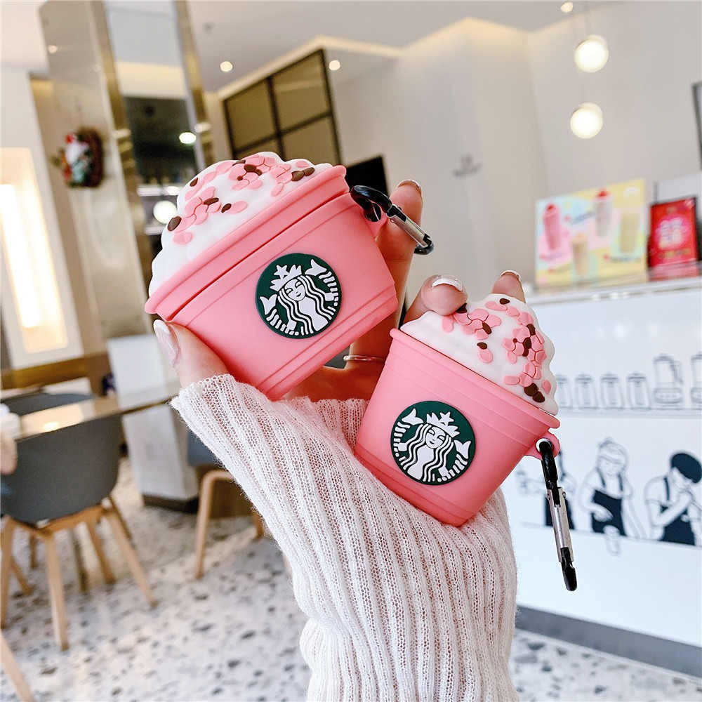 Ốp Airpods Silicon bảo vệ tai nghe AirPods 1 | 2 [mẫu mới 2019] pink starbucks design airpods 1/2 Gen case inpods i12 TWS i12s case Airpods pro Bluetooth Headset Anti-fall Protection Soft Case airpods casing wireless airpods earphonescover silicone casing