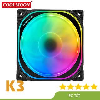 Quạt Tản Nhiệt, Fan Case Coolmoon K3 dual ring led RG - Sử dụng hub thumbnail