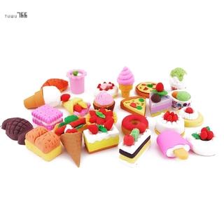25PCS Pencil Erasers Assorted Food Cake Dessert Puzzle Toys