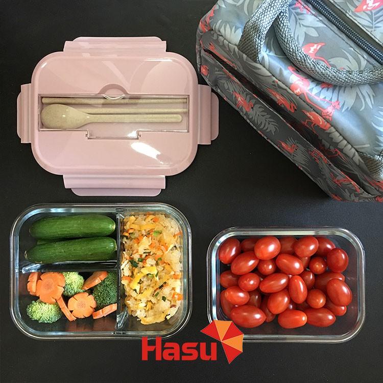 Bộ hộp cơm văn phòng bằng thủy tinh cao cấp chia ngăn kèm túi giữ nhiệt + Bộ thìa(Nắp thìa)