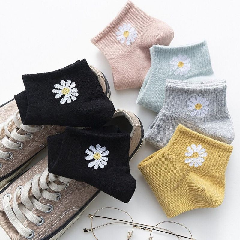 Combo 3 đôi tất hoa cúc thời trang co giãn
