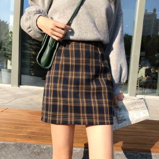 Chân váy ngắn lưng cao họa tiết caro thời trang Hàn Quốc cho nữ