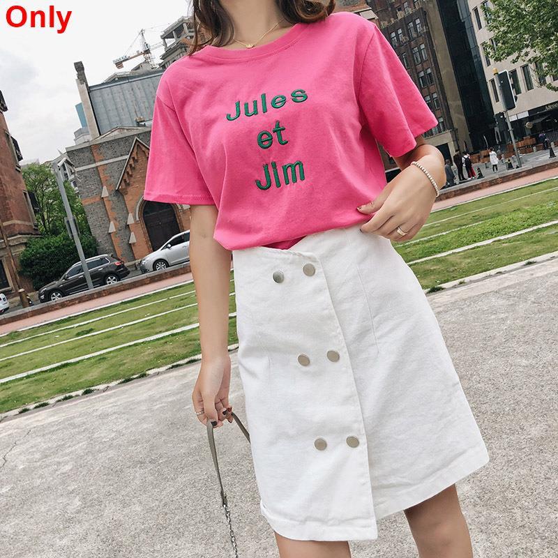 Set Áo Thun Ngắn Tay Thêu Chữ + Chân Váy Denim Lưng Cao Thời Trang Dành Cho Nữ
