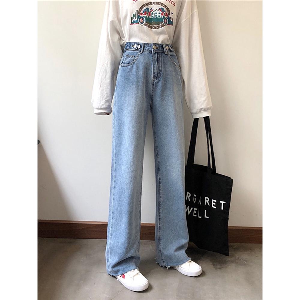 Quần jeans cạp cao ống rộng - Quần bò ống rộng 2019