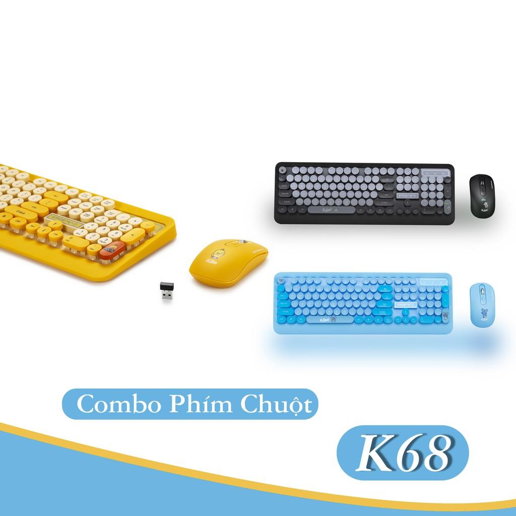 Bộ Bàn Phím Và Chuột Không Dây PSPY K68 kiểu dáng năng động,dễ ...