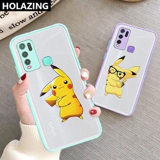 for VIVO Y50 Y30 Y30i Y20/Y20i Y20S Y20A Y12 Y15 Y17 Y19 Y95 Y91 Y93 (Mediatek) Cartoon Pikachu Casing Accurate Protective Hard Scrub Cover Phone Case vỏ điện thoại