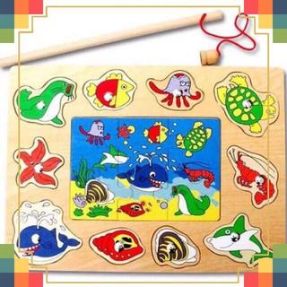 Bảng Ghép Tranh Động Vật Biển Kết Hợp Câu Cá Nam Châm Cho Bé
