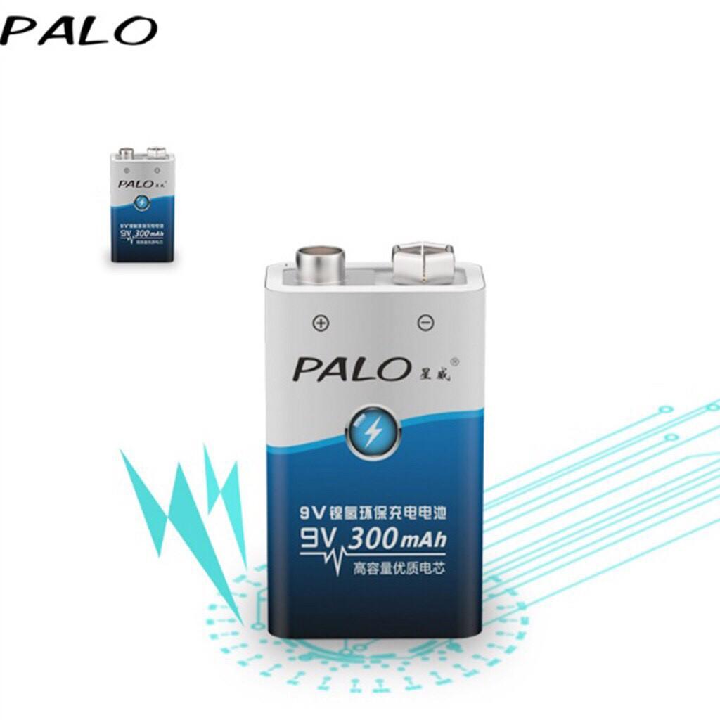 Bộ 2 Pin Vuông 9v Sạc Lại Palo 300mAh + Tặng Sạc Pin Vuông 9v