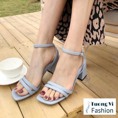 Giày sandal 2 dây mảnh gót vuông 5p - CG 0272