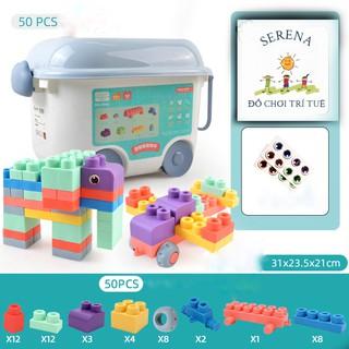Thùng Đồ Chơi Lắp Ghép Khối Lớn Nhựa Mềm Dẻo PE Chịu Nhiệt Đồ chơi trẻ em