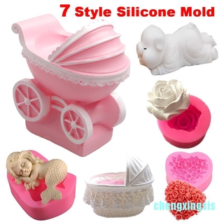 Cxsis 7Style DIY 3D Mermaid Pine Nut Flower Bloom Shaped Fondant Silicone Mold Cake Decoration
