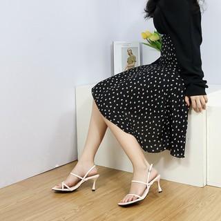 Hình ảnh [Mã FASHIONMALLT4 giảm tới 30K đơn 150K] Giày cao gót Erosska phối dây xỏ ngón cao 7cm màu trắng _ BM004-4