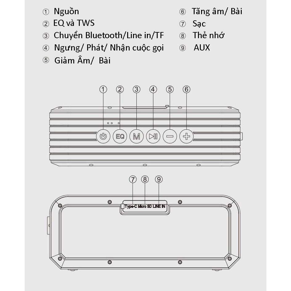 Loa Bluetooth PKCB6 40W Super Bass chống nước IPX7 pin 6600MAH sạc nhanh Type C công nghệ AI Hàng Chính Hãng
