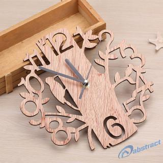 AB Tree Shape Wall Clock Real 3D Diy Wall Watches Living Room Home Decor