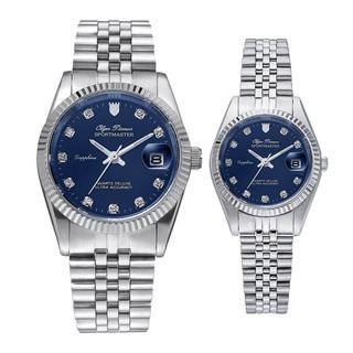 Đồng hồ đôi nam nữ dây kim loại Olym Pianus OP89322 MS OP68322 LS mặt xanh thumbnail