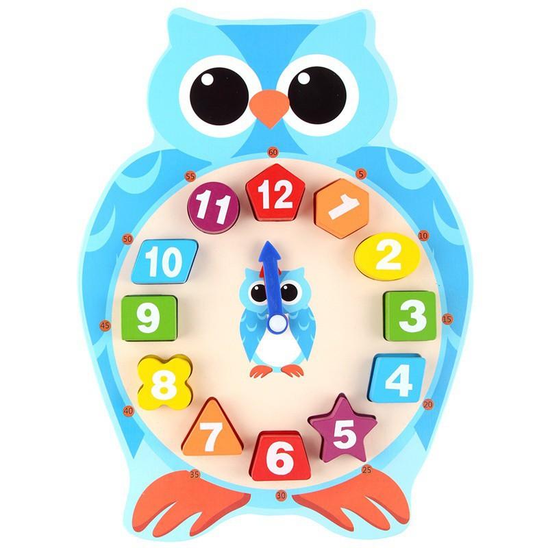 BOBORA Baby Wooden Geometry Shape Frogs Owl Sorting Blocks