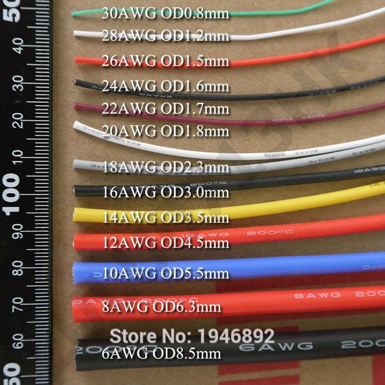 Dây điện AWG Silicon dẻo chịu nhiệt 200độ chuyên dùng trong RC (1 mét)