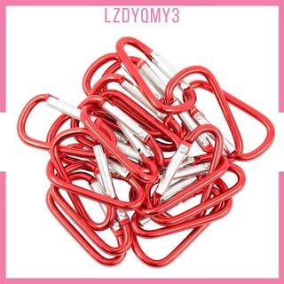 hausgarden 20 Pieces Red D Shaped Aluminum Carabiner Hook Keychain Snap Clip Climbing
