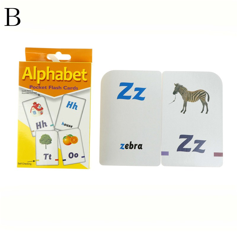 Flash Cards Learn English Word Number Kid Baby Literacy Game Educational Toy