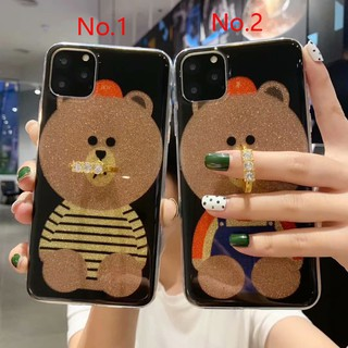 For Samsung A10 A20 A30 A40 A50 A60 A70 M10 M20 M30 M10s A10s A20s cute glitter bear with ring stand phone case