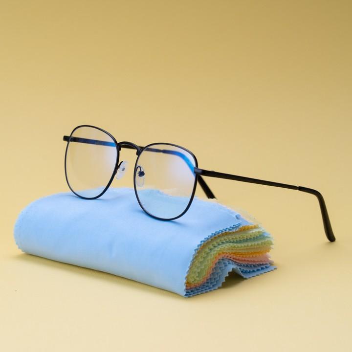 Gọng kính cận kim loại cho mặt vuông 4U, mắt tròn chống bụi hoặc lắp cận, màu đen – 9396