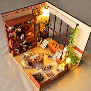 Mô hình nhà gỗ búp bê Dollhouse DIY – Kèm mica – TW28 Calligraphy Room Phòng thư pháp