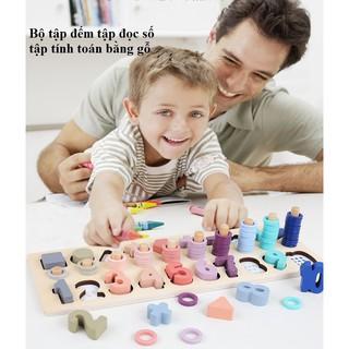 Bộ tập đếm tập đọc số tập tính toán trí tuệ bằng gỗ_Đồ chơi gỗ_babyvnshop2