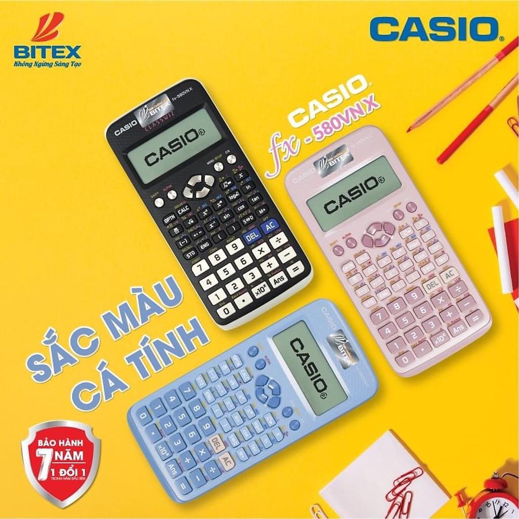 Máy tính CASIO FX 580 VNX Sắc Màu Chính Hãng BH 7 năm Bitex-Hồng Phấn