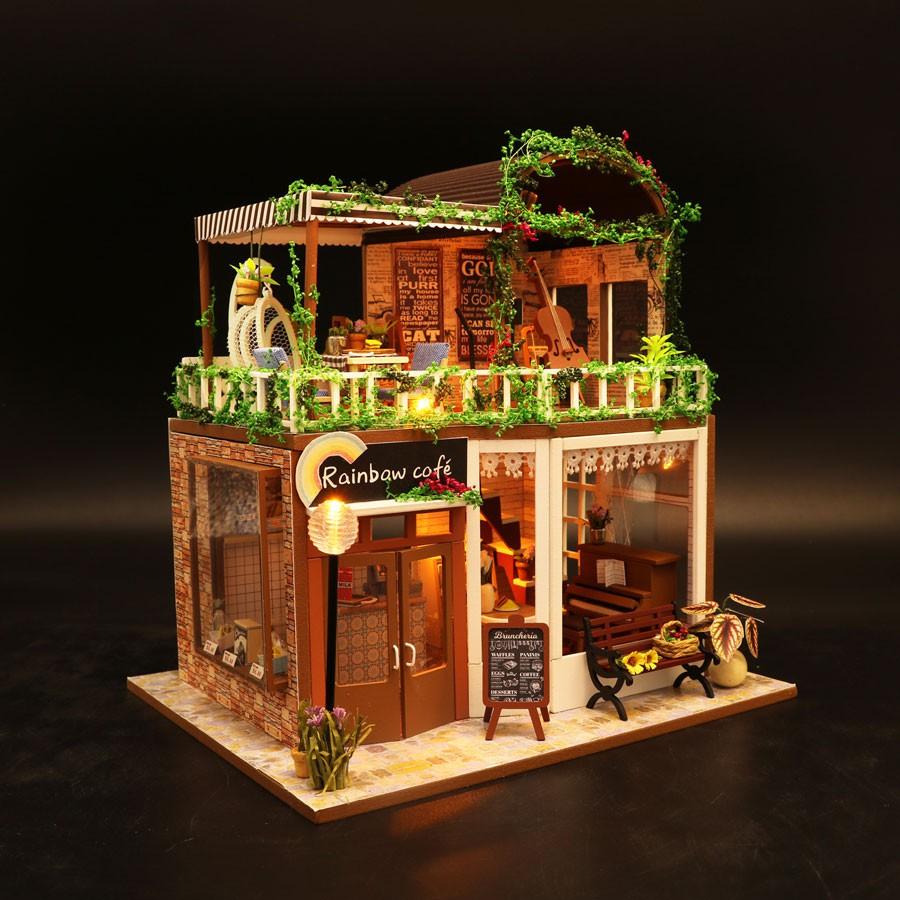Nhà búp bê Mô hình lắp ghép Rainbow cafe M906