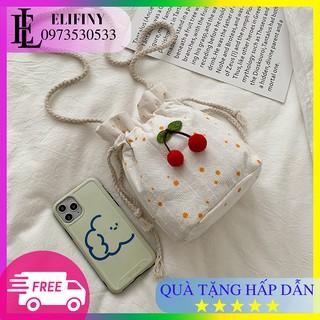 Túi Vải Đeo Chéo Dây Rút Hình Quả Cherry Mini Đáng Yêu Dành Cho Nữ
