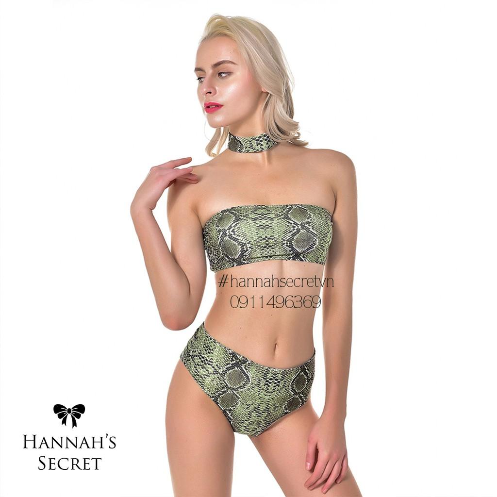 [ Ảnh thật ]   Bikini Ống kèm choker họa tiết da rắn | SaleOff247