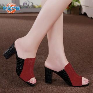 Giày sandal nữ đẹp Rosata hở mũi vân cá sấu RO79 thumbnail